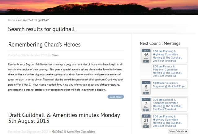 Search for the word guildhall on the Chard website